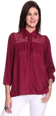 Remanika Women,s Solid Casual Red Shirt