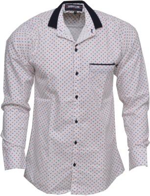 Blue 69 Men's Printed Casual White Shirt
