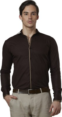 Lisova Men's Solid Casual Brown Shirt