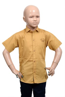 Puppet Nx Boy's Solid Casual Gold Shirt