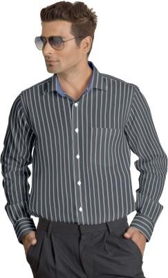 Willmohr Men's Striped Casual Grey Shirt