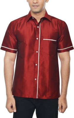 KENRICH Men's Solid Formal Maroon Shirt
