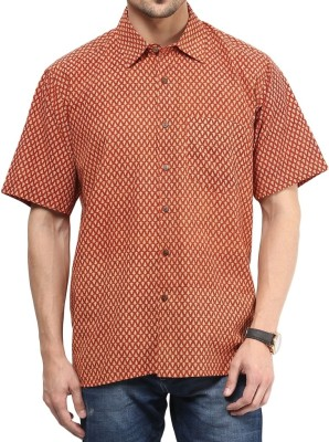 Vivid India Men's Striped Casual Red Shirt