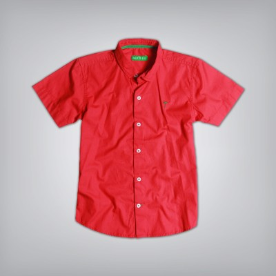 Palm Tree Boy's Solid Casual Red Shirt