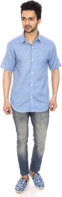 Kalaa Men's Solid Casual Blue Shirt