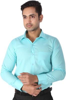 Regza Men's Checkered Formal Light Blue Shirt