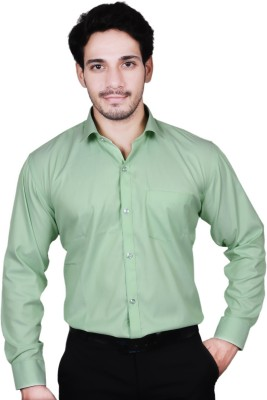 The Mods Men's Solid Formal Green Shirt