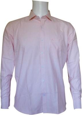 Ardeur Men's Striped Formal Orange, White Shirt