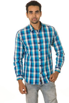 West Vogue Men's Checkered Casual Blue Shirt