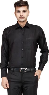 FranklinePlus Men's Solid Formal Black Shirt