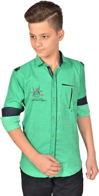 Anry Boy,s Solid Casual Green Shirt