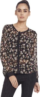 Globus Women's Floral Print Casual Black Shirt