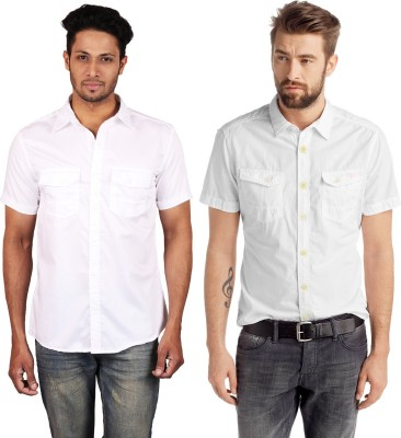 Lmfao Men's Solid Casual White Shirt