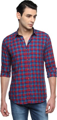 British Club Men's Checkered Casual Blue, Red Shirt