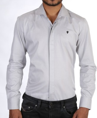 FORTY ONE FITZROY Men's Solid Party Grey Shirt