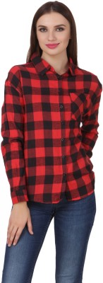 One Femme Women's Checkered Formal, Party Red Shirt