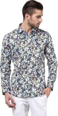 Invern Men's Floral Print Casual White, Blue Shirt
