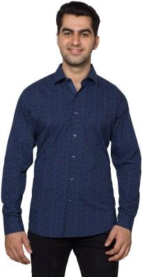 Hancock Men's Printed Casual Dark Blue Shirt