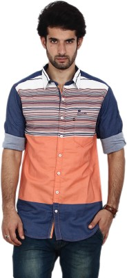 FRD13 Men's Striped Casual Orange Shirt