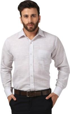 Saadgi Men's Solid Casual White Shirt
