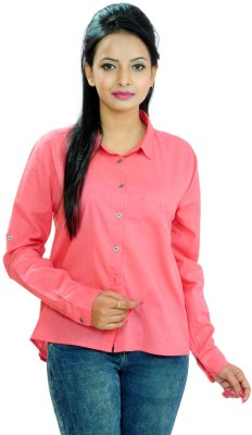Goodwill Impex Women's Solid Casual Pink Shirt