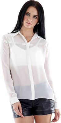 Fuziv Women's Solid Casual White Shirt