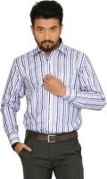 Indian Weller Formal Shirts (Men's) - Indian Weller Men's Striped Formal Blue Shirt