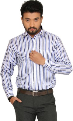 Indian Weller Men's Striped Formal Blue Shirt