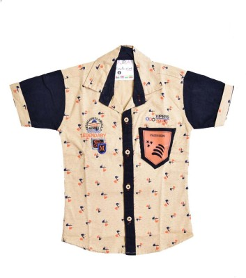 British Terminal Boy's Self Design Casual Beige Shirt