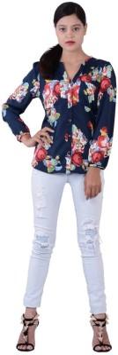 Fashnopolism Women's Floral Print Casual Blue Shirt