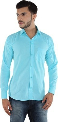 MAKHKHA Men's Solid Formal Light Blue Shirt