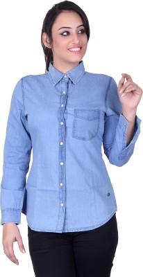 STADO Women's Solid Casual Denim Light Blue Shirt