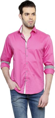 RICHARD COLE Men's Solid Formal Pink Shirt