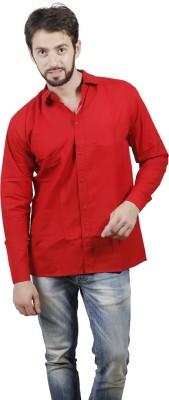 FDS Men's Solid Formal Red Shirt