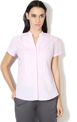 Van Heusen Women's Striped Casual Pink Shirt