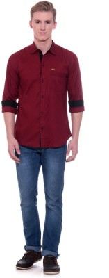 Scatchite Men,s Solid Casual Maroon Shirt