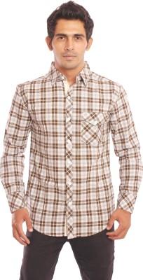 Nick & Jess Men's Checkered Casual White, Green Shirt