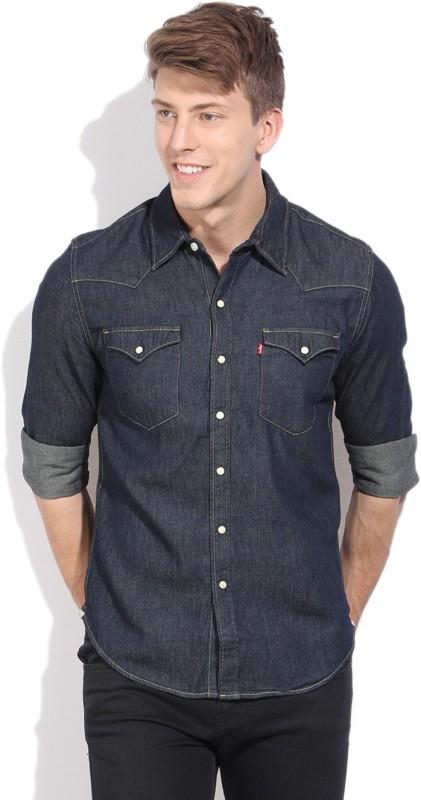 Levi's Men's Solid Casual Dark Blue Shirt