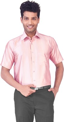 Mark Anderson Men's Solid Casual Pink Shirt