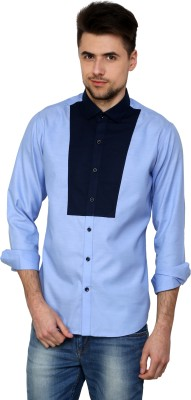 See Designs Men's Solid Casual Reversible Light Blue Shirt