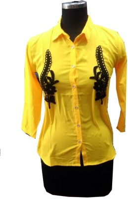 V.K TRADERS Women's Self Design Casual Yellow Shirt