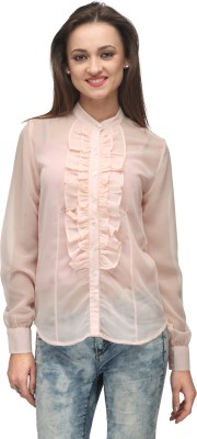 Vemero Clothings Women's Solid Formal Pink Shirt
