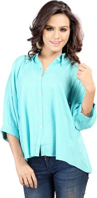 SFDS Women's Solid Party Blue Shirt