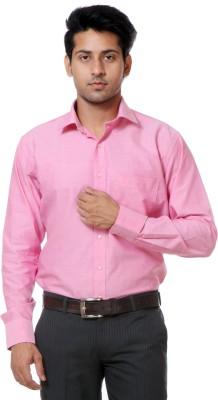 Call In France Men's Solid Formal Pink Shirt