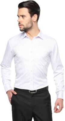 British Club Men's Striped Formal White Shirt