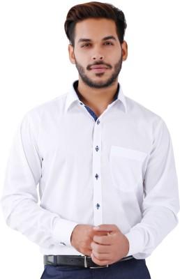 Lamode Men's Printed Casual White Shirt
