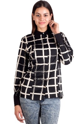 Ebry Women's Printed Casual Black Shirt