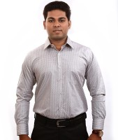 Iconic Formal Shirts (Men's) - Iconic Men's Checkered Formal Grey Shirt
