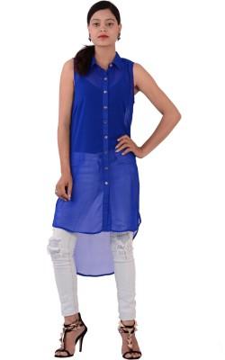 Fashnopolism Women's Solid Casual Blue Shirt