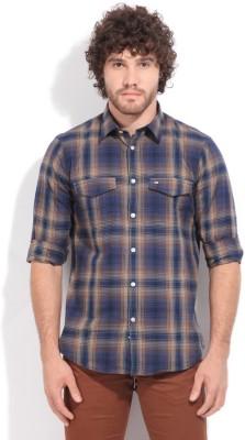 Arrow Sport Men's Casual Blue, Brown Shirt